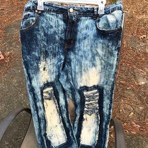 Stonewash Ankle Length Blue Jeans
